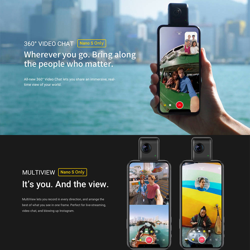 US $224 06 25% OFF|Insta360 Nano S 4K 360 VR Video Panoramic Camera 20MP  photos for iphone -in 360° Video Camera from Consumer Electronics on