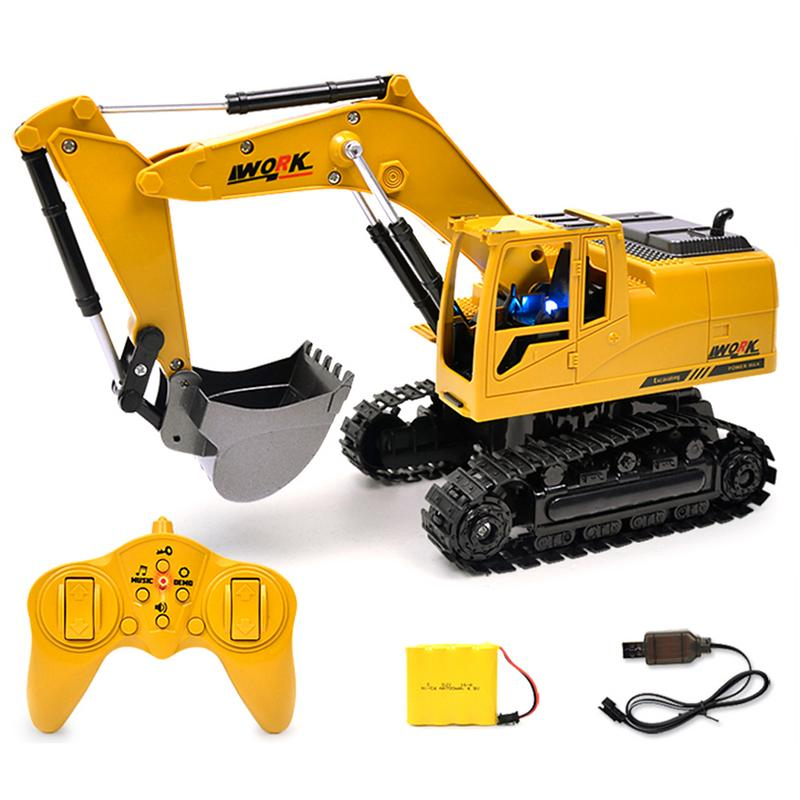 Wireless Remote Control Engineering 5CH 4 Shovelloader <font><b>RC</b></font> <font><b>Wheel</b></font> Function Excavator <font><b>RC</b></font> Excavator And Light Electronic Toy Model image