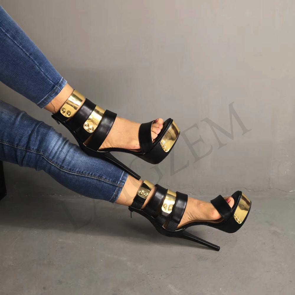 LAIGZEM Strappy kobiety sandały Open Toe z powrotem na zamek błyskawiczny platformy obcasy sandały damskie Sapato Feminino buty kobieta duży rozmiar 34  52 w Wysokie obcasy od Buty na  Grupa 3