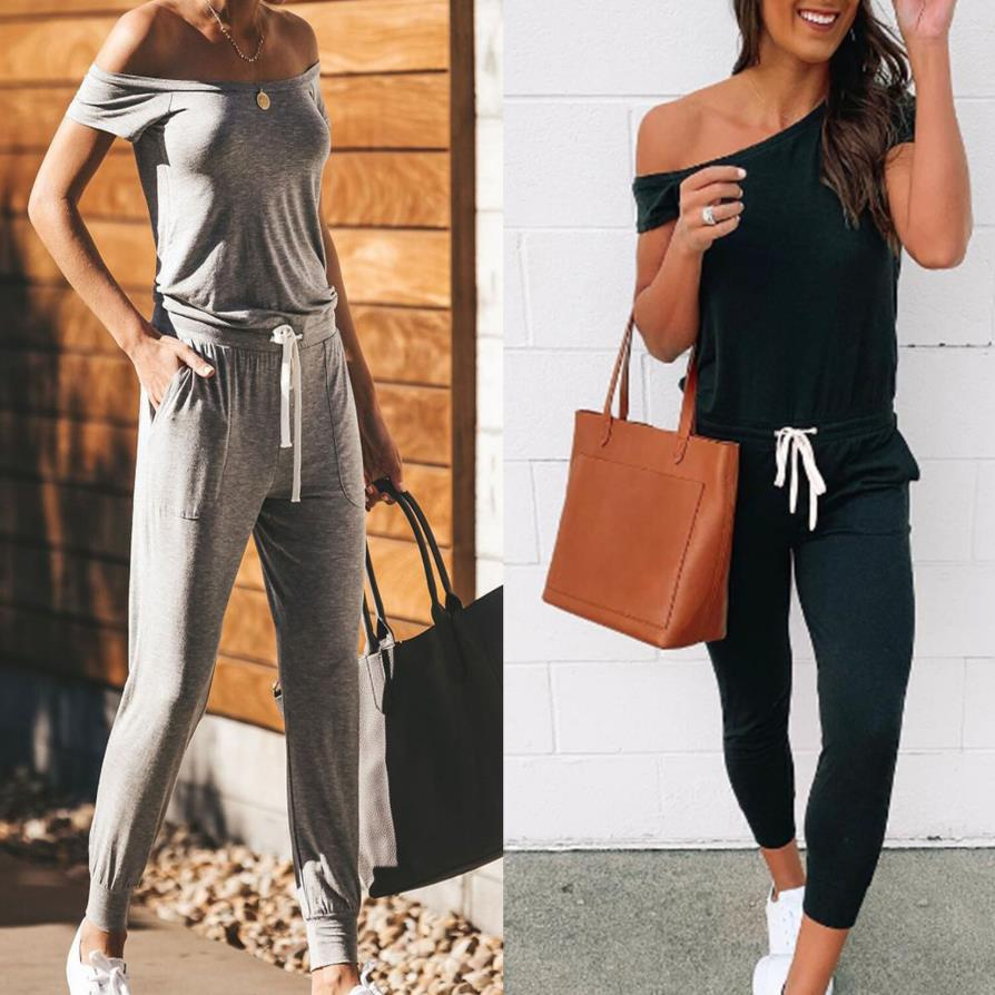 Women New Casual Jumpsuit Romper Off-Shoulder Bodycon Trousers Outfit Playsuit Ladies 2020 New Fashion Jumpsuits