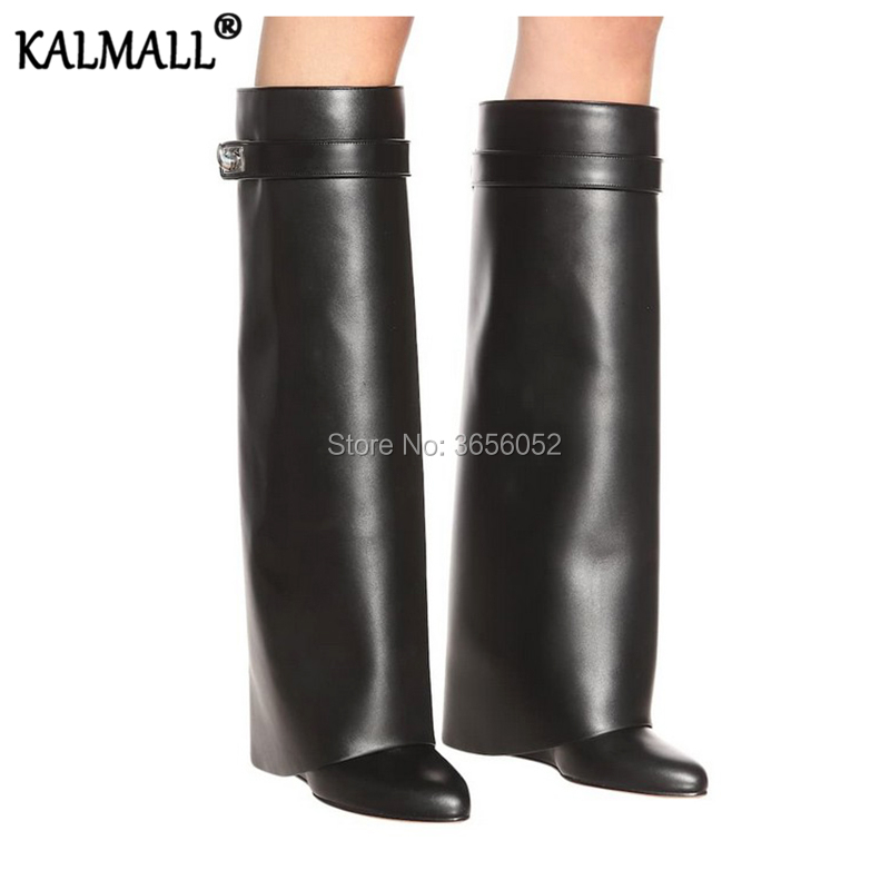 KALMALL Autumn Winter Shoes Women Long Botas Mujer Pointed Toe Shark Metal Lock Height Increasing Wedges Knee High Leather Boots