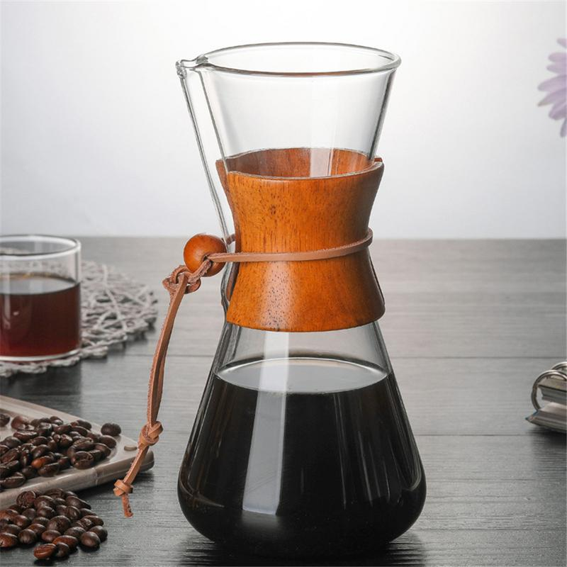 Coffee Makers Glass Handmade Coffee Pot With Filter High Temperature Glass 400ML Home Office Espresso Coffee Maker Cup Tool