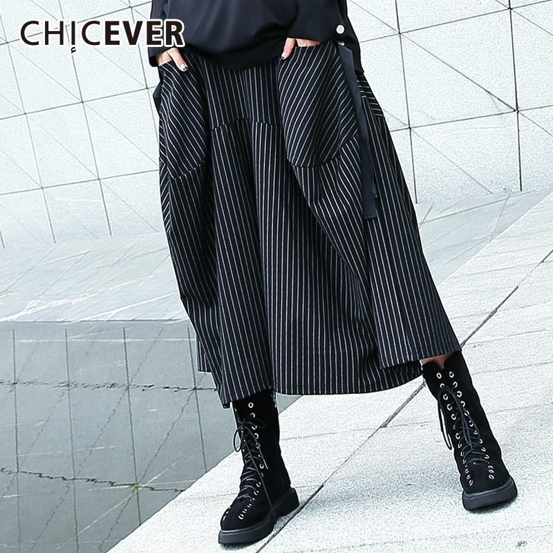 CHICEVER Elastic High Waist Trousers For Women   Wide     Leg     Pants   Female Striped Loose Big Size Calf length   Pants   Fashion Autumn New