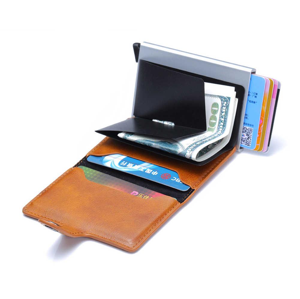 Новые фотоальбомы противоугонные Мужские Винтажные кредитные карты блокировка Rfid кошелек кожаный унисекс информация Безопасности Алюминиевый металлический кошелек