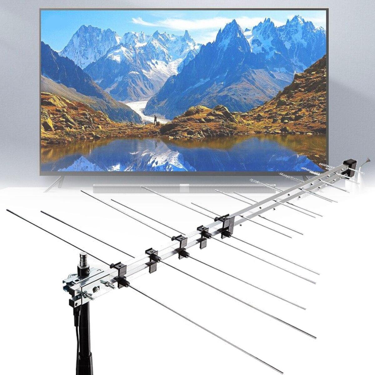 111.5 cm 32 élément TV antenne extérieure numérique antenne UHF VHF HD FM amplifié 8.5db DVB-T Signal Booster TV récepteur accessoires