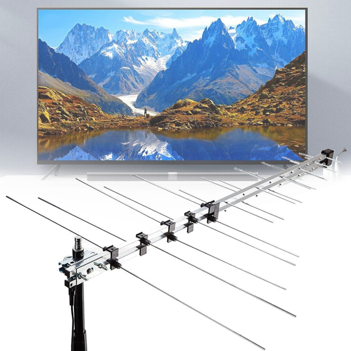 111.5cm 32 Element TV Antenna Outdoor Digital Aerial UHF VHF HD FM Amplified 8.5db DVB-T Signal Booster TV Receiver Accessories111.5cm 32 Element TV Antenna Outdoor Digital Aerial UHF VHF HD FM Amplified 8.5db DVB-T Signal Booster TV Receiver Accessories