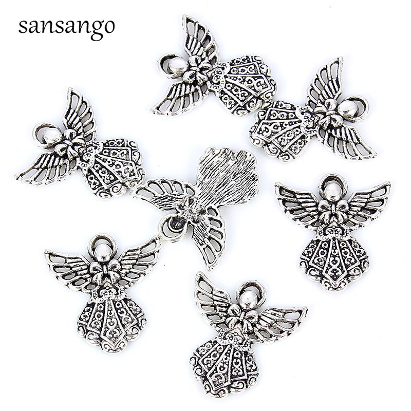 10pcs Angel Wings Beads Tibetan Silver Charms Pendant DIY 7*20mm