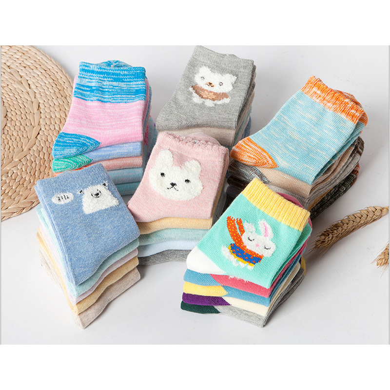 Rushed Unisex Socks New Meias Children Socks Rabbit Bear Character Girl Baby Cotton Sock 1-12 Year 6pair Free Shipping