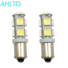 High Quality 2pcs White Car Led Ba9s T4w 9 Smd 5050 Led Auto License Plate Light Door Bulb Trunk light Marker Gauge Lamps Dc 12v 10pcs heat durable t4w led ba9s cob 30ma round 3d t11 363 1 smd car license plate light bulb for car door lamp white 12v