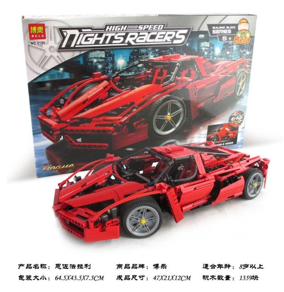 Bela 9186 Enzo 1:10 modèle voiture blocs de construction Ensembles 1359 pièces puzzle éducatif bricolage briques de construction jouets cadeaux Legoings 8653