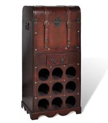 VidaXL деревянная прочная Классическая Винная стойка для 9 бутылок с ящиком для хранения хранение винных бутылок полка для бара