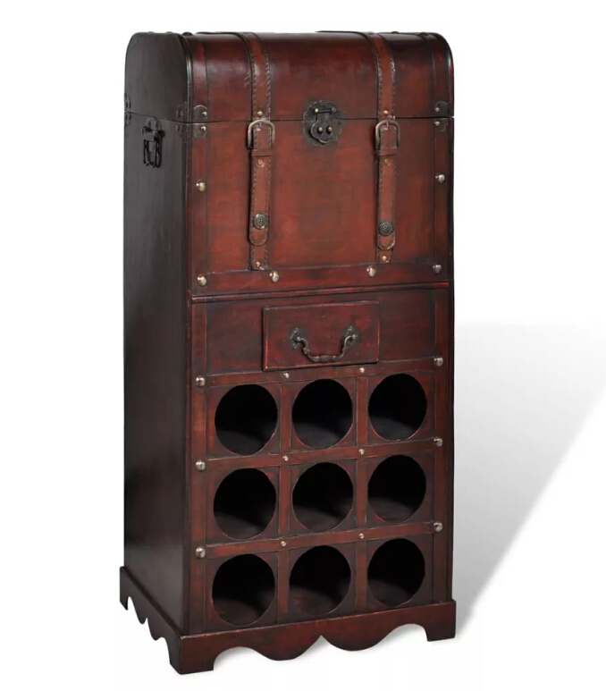VidaXL Wooden Durable Classical Wine Rack For 9 Bottles With Storage Trunk Drawer Wine Bottle Storage Rack Bar Display ShelfVidaXL Wooden Durable Classical Wine Rack For 9 Bottles With Storage Trunk Drawer Wine Bottle Storage Rack Bar Display Shelf