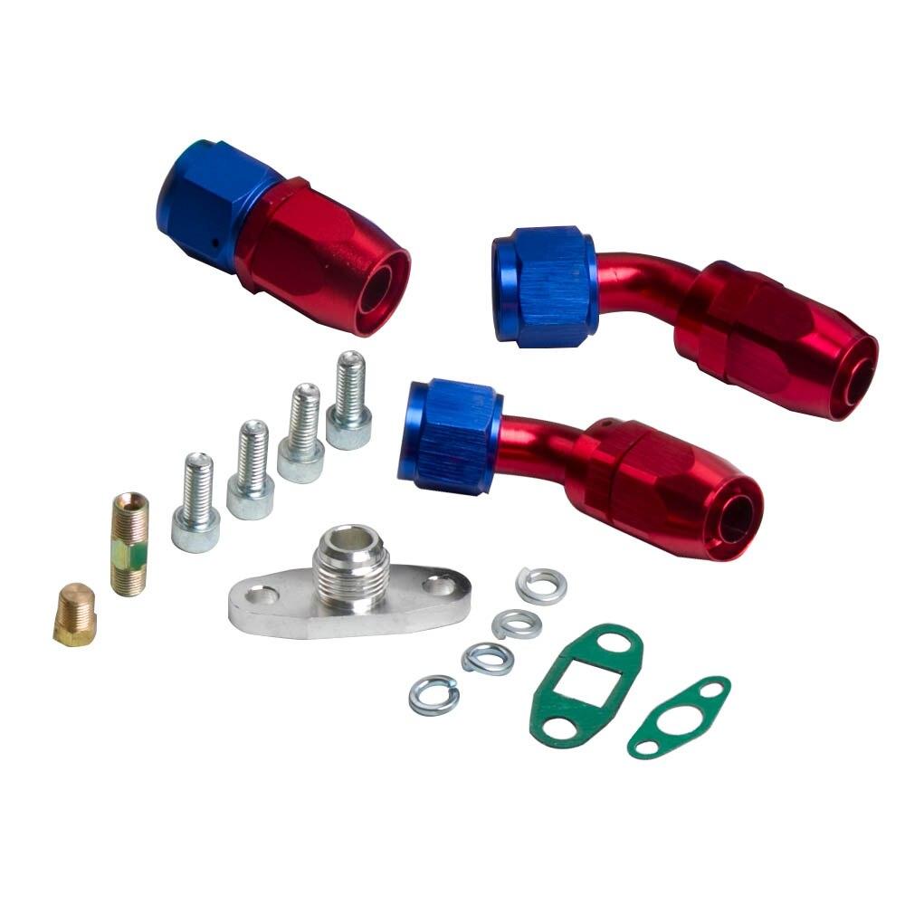 Turbocompresor GT30 GT3037 GT3076 Turbo 500bhp + líneas de alimentación de aceite de retorno de drenaje de aceite para todos los motores 6/8 cyl 3.0L 5.0L - 4