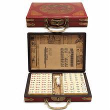 144 шт портативный маджонг для путешествий Mah-jongg с архаистической кожаной коробкой и руководством на английском языке(случайный шаблон доставки коробки