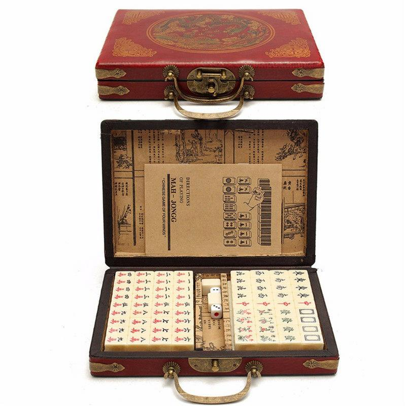 144 PCS Travel Mahjong Portable Mah-jongg With Archaistic Leather Box And Manual In English (Random Pattern Of Box Delivery)