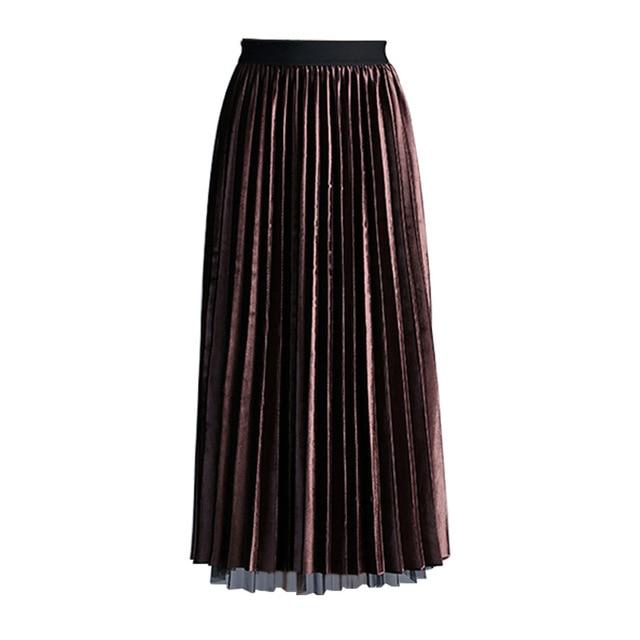 a12da9d44 2019 Spring A line Skirt Gold Velvet Pleated Skirt Women Casual High Waist  Long Mesh Skirt Female Skirts Womens Korean Clothes