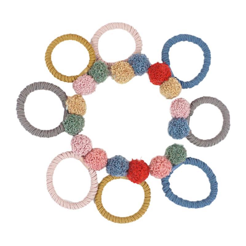 8pcs Hair Ties Double Colored Ball Simple Elastic Cute Ponytail Holders Hair Ring Hair Accessories Hair Rope