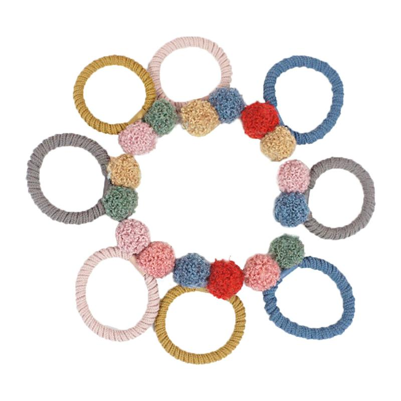 8pcs Hair Ties Double Colored Ball Simple Elastic Cute Ponytail Holders Hair Ring Hair Accessories Hair Rope