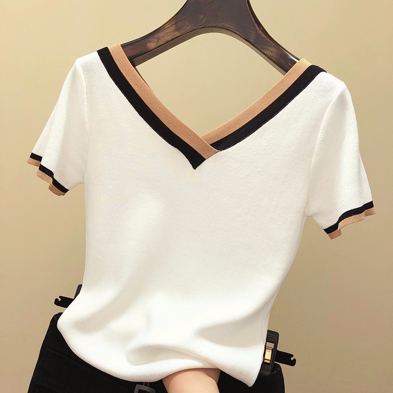 V-neck Knitted T Shirt Women Patchwork Short Sleeve Basic Tops Spring 2019 New Arrivals