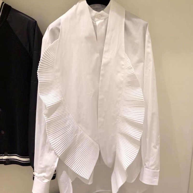 DEAT 2019 春夏新作ファッションの女性服襟フリルプリーツシングルブレストシャツ女性ブラウス WD60300L