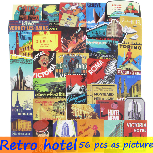 US $2 29 38% OFF|56 Pcs Retro Hotel Sticker JDM Artistic Graffiti Travel  Building Logo DIY Stickers For Laptop Car Luggage Suitcase Bicycle Decal-in