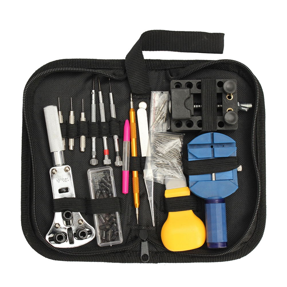 144 Pcs Watch Repair Kit Portable Professional Durable Maintance Kits Case Opener Spring Bar Tool Set with Carrying