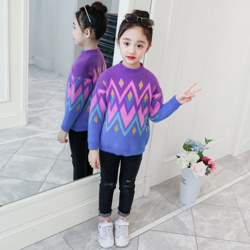 Children 39 s clothing girls sweater head 2019 autumn and winter new long sleeved sweater long sleeved baby bottoming shirt 3 12 in Sweaters from Mother amp Kids