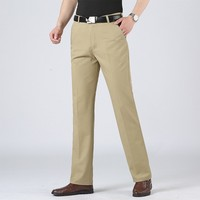 Plus Size 40 Men Spring Summer Brand New Business Casual Pants Men Washed Cotton Solid Fashion Soft Trousers Pants Men Clothing Casual Pants