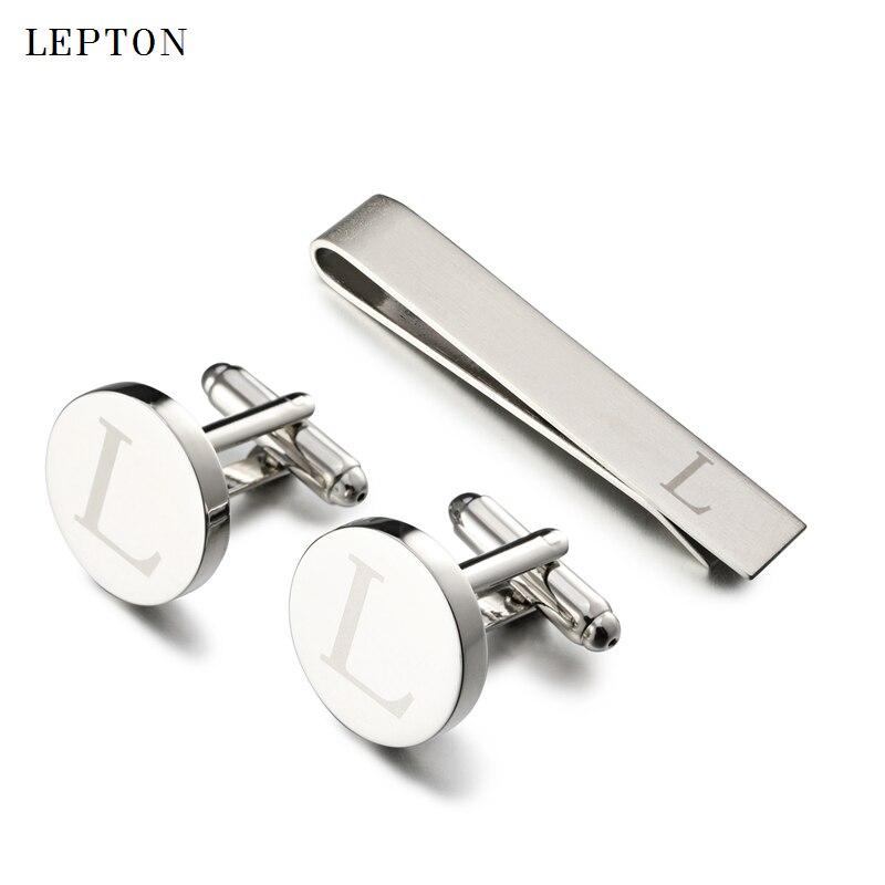 Lepton Cartas Abotoaduras & Tie Set Clipes Cor Prata Letras De Um Alfabeto L Abotoaduras Para A Camisa Dos Homens Botão de Punho Punhos gemelos