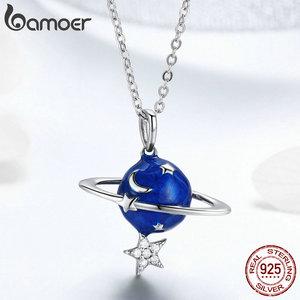 Image 3 - Bamoer Hot Verkoop 100% 925 Sterling Silver Secret Planet Moon Star Kettingen Hangers Voor Vrouwen Sterling Zilveren Sieraden BSN007