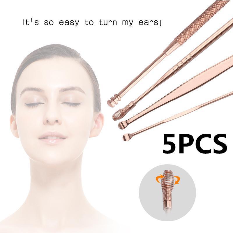 XY Fancy 5pcs/set Stainless Steel Ear Pick Wax Curette Remover Ear Cleaner Spoon Ear Clean Tool