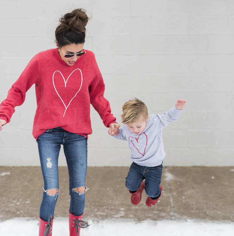 Mom And Son Matching Sweatshirt Pullover Top, Sweat Heart Print T-shirt Top Match