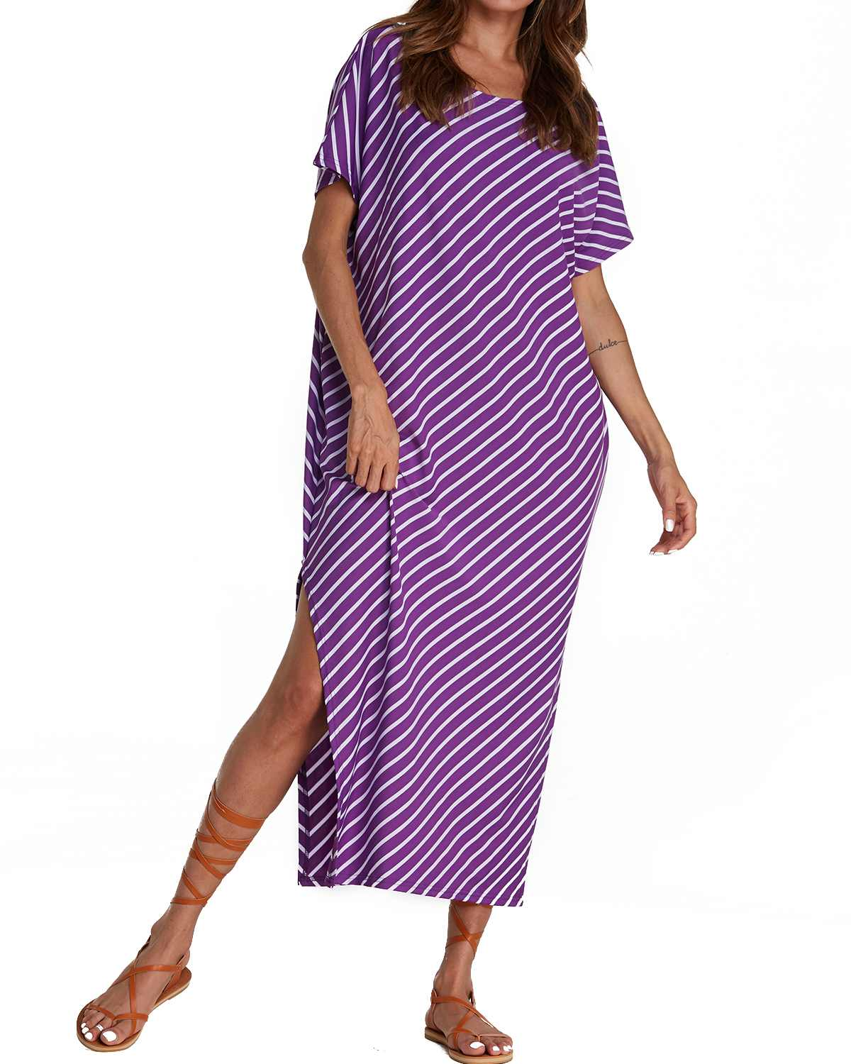 Summer Striped Split Party Dresses  Women ZANZEA 2019 Casual Loose Half Bat Sleeve Round Neck Long Bodycon Beach Dress Plus Size