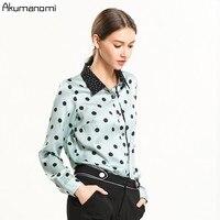 Women Shirts 2019 Spring New Long Sleeve Polka Dot Print GREEN Blouses Shirts Womens Tops Blusas Feminine Blouse Plus Size