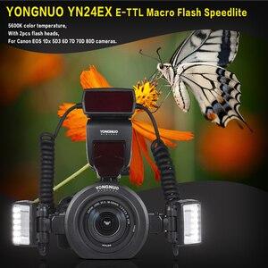 Image 2 - Yongnuo Flash Macro Speedlite YN24EX E TTL para cámaras Canon EOS 1Dx 5D3 6D 7D 70D 80D con 2 uds. De cabezal de Flash + 4 Uds.