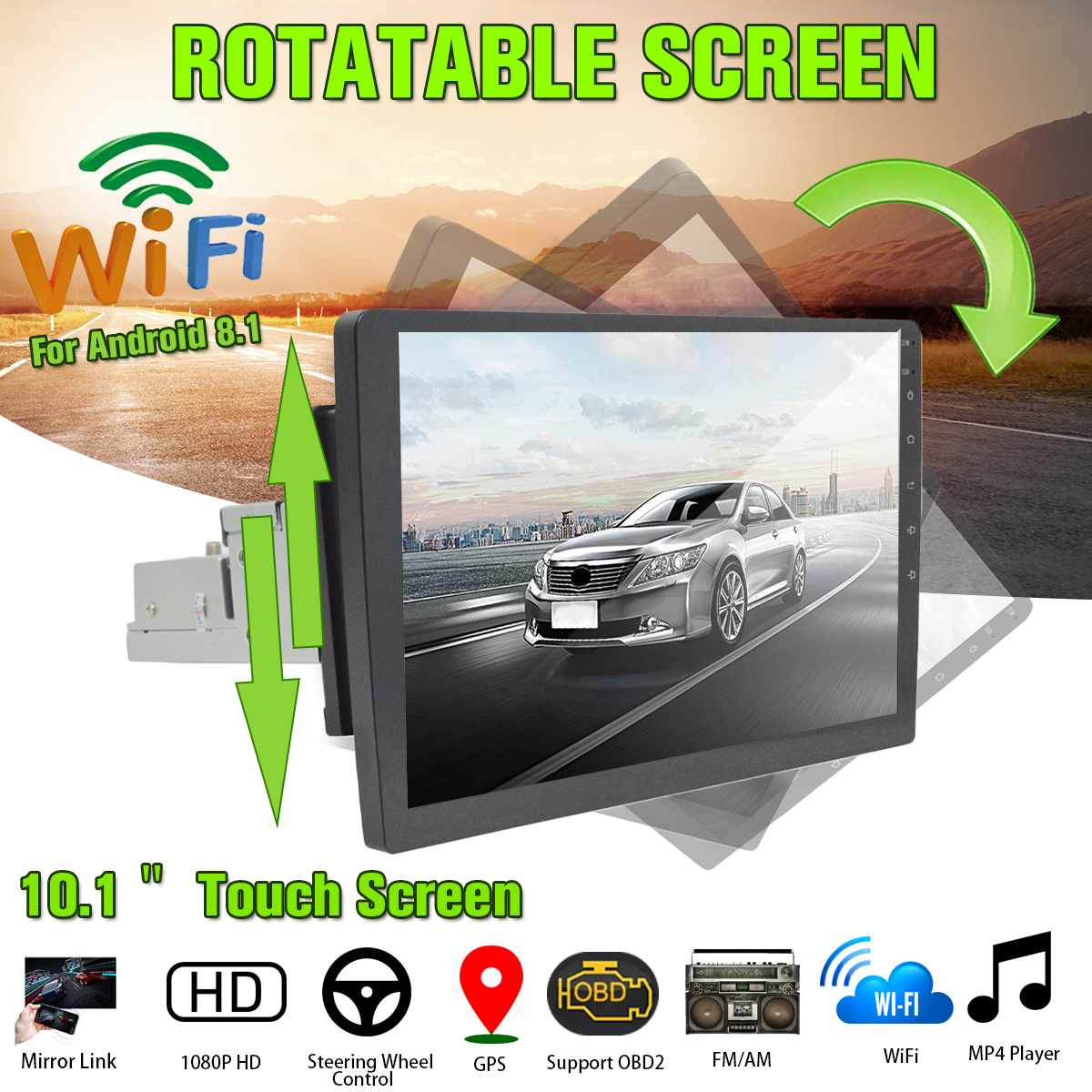 10.1'' Car Stereo 1 Din Multimedia Player Rotative Touch Screen for Android 8.1 FM Audio Radio bluetooth GPS Wifi MP5 Player