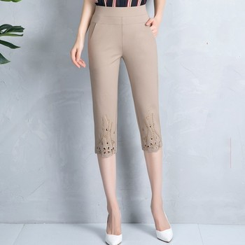 L – 5XL Women's Summer Thin Capris Pants New Fashion High Waist Straight Plus Size Calf-length Pants  Pantalon Femme Pants & Capris