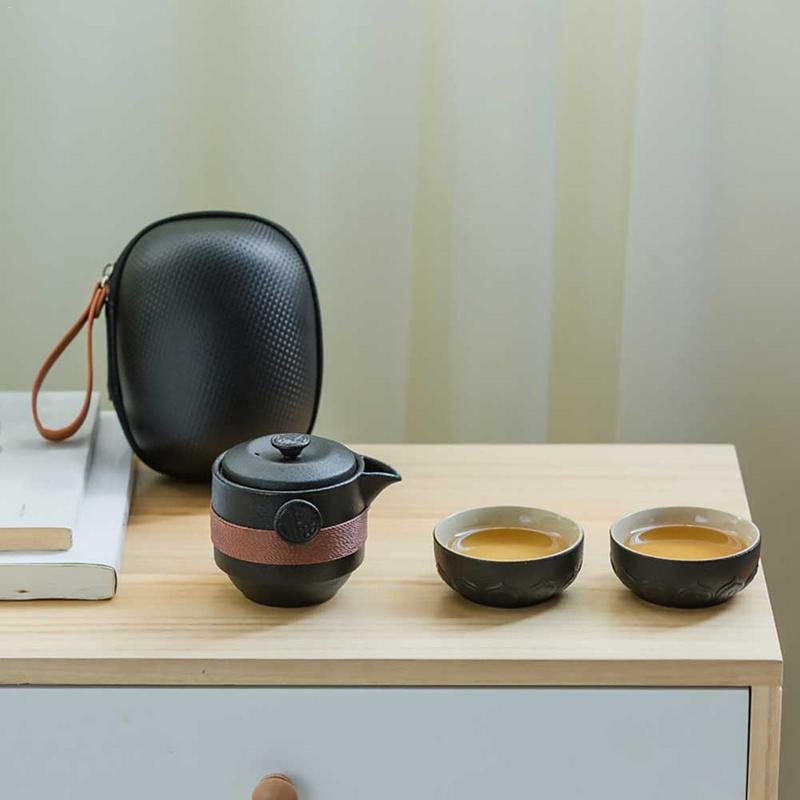 Black Pottery One Pot Two Cups Tea Sets Portable Travel Home Office Cups Ceramic Tea Coffee Container With Bag
