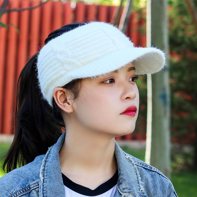 6cd83adbd70 Women Empty Top Visors Hats Fashion Wool Crochet Knitted Caps Beanie Winter  Spring Warm Snapback Hat Ladies Solid Stretchy Cap
