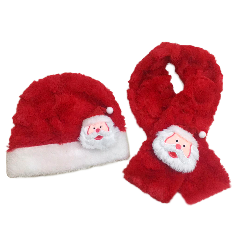 Set Of Kids Christmas Hat And Scarf Plush Warm Santa Claus Red Clothes Accessory Scarf Hat For Toddlers Kids Infants