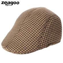 342e011f5d188 Unisex Tweed Cap Vintage Style Check Flat Cap Baker Boy Newsboy Hats Cotton  Men Women Soft