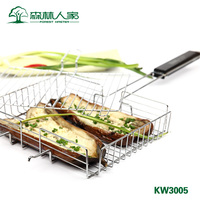 Barbecue tool outdoor BBQ net clamp large stainless steel roasting corn ourdoor picnic BBQ food grill wire meshes lip