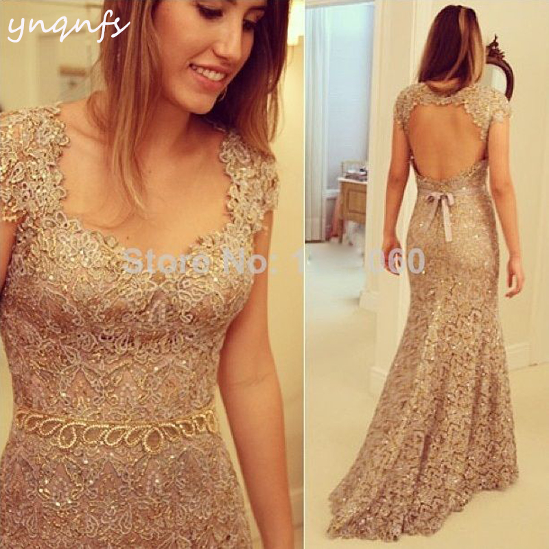 YNQNFS Elegant Mother of the Bride Groom Dresses for Wedding Party Gowns  Gold Lace Vestidos f970e6f0c1f7