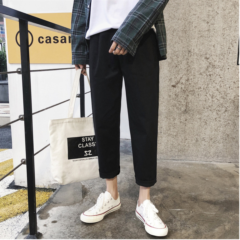 Casual Pants Clothing Men's Trousers New Youth Spring Slim Nine Solid-Color Students