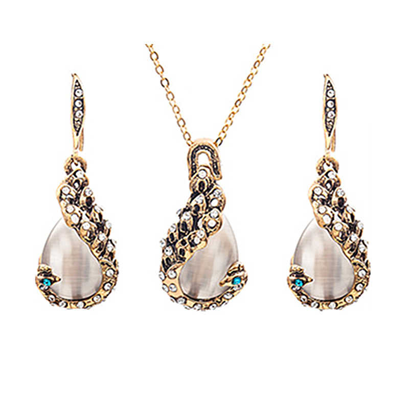2019 Hot Fashion Retro Peacock Water Drop Opal Crystal Chokers Necklace&Drop Earrings Jewelry Set For Women Bride Wedding Party
