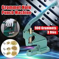Grommet Eyelet Hole Punch Machine Pliers Tool Hand Press 3 Dies With 900pcs Eyelets Grommets For Shoes Bags Leather Belt