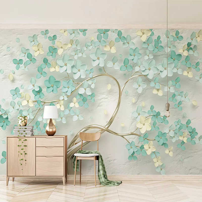 Custom 3D Photo Wallpaper For Bedroom Walls 3D Embossed Green Flowers Non-woven Wall Painting Living Room Home Wall Decoration