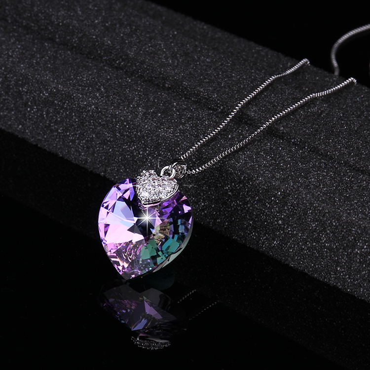 Swarovski Necklace for Women Heart Shape Amethyst Crystal Pendant Necklace Fine Jewelry Choker Necklace Gift for Lady Collares