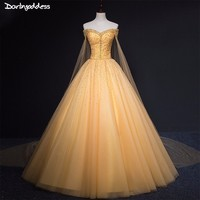 Gold Quinceanera Dresses Cape Sleeve Sweet 16 Dresses For 15 Years Ball Gown Formal Prom Dress Vestidos De 15 Anos Debutante