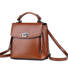 Cow Leather Laptop Backpack Real Women Mini Double Shoulders Vintage Travel Sac A Dos Girl Bagpack